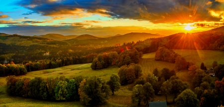 Mountain hills at sunset - beautiful, trees, rays, orange, sky, slope, view, golden, sunset, sun, hills, mountain