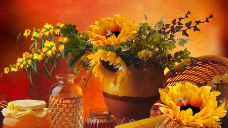 Sunflowers and Honey - sunflowers, harvest, basket, summer, Firefox Persona theme, flowers, autumn, bees, fall, honey
