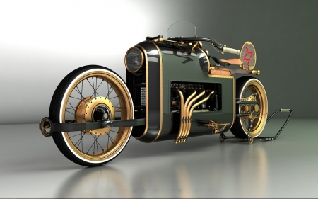 Steampunk Bike - motor, wheels, photography, vehicle, motorcycle