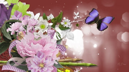Bouquet For You - light, flowers, butterfly, summer, spring, sticks, ribbon, bow, Firefox Persona theme