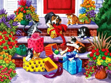 Time for Toys and Treats - Pets F - wide screen, gifts, feline, beautiful, pets, cats, painting, art, animal, dogs, artwork, canine, toys, illustration
