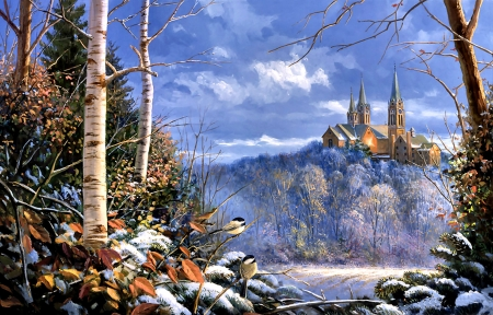Holy Hill Sentinals F1Cmp - wide screen, architecture, scenery, beautiful, art, snow, artwork, religious, painting, church, birds, avian, chapel, illustration, winter, chickadees