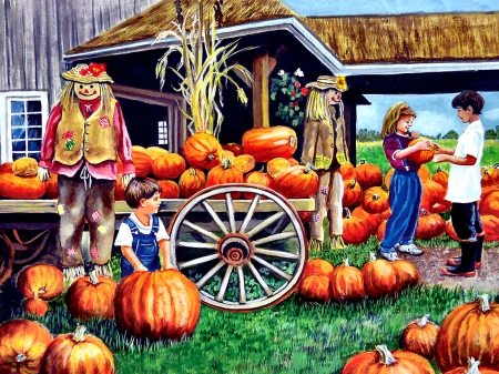Mom, This is the One F - people, beautiful, artwork, painting, art, autumn, illustration, wide screen, pumpkins
