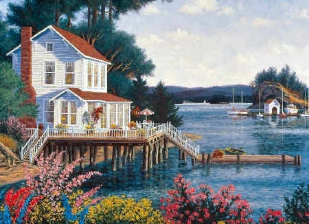 house on the lake - abstract, lake, painting, house