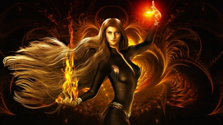 Fire Woman - fire, beauty, woman, fantasy, magical