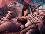 Fantasy girl and white tigers