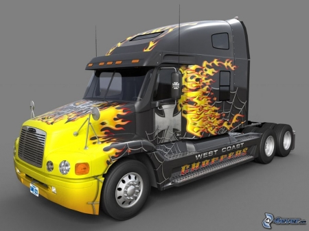 Awesome Rig - Truck, Flames, Yellow, Black