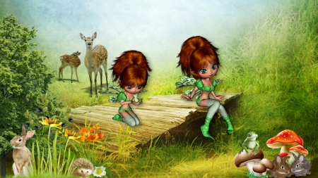 Fairies and Frogs - fantasy, field, frogs, fairies, fae, rabbits, Firefox Persona theme, deer, wild life
