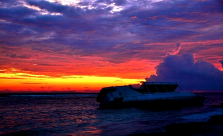 Ship Wreck - colors, ice, sea, clouds, sunset, sly