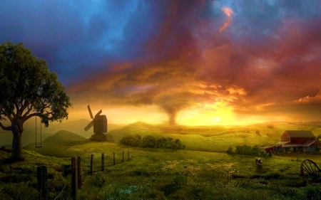 Tornado - landscape, clouds, sunset, windmill, sky, tree, wheel
