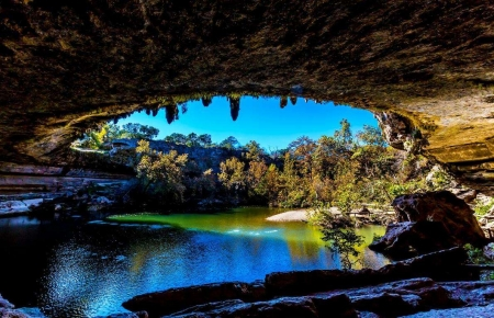 Lovely View - cave, water, nature, trees