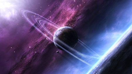 Saturn - space, blue, pink, stars, luminos, saturn, planet, cosmos