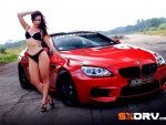 beautiful girl with car bmw