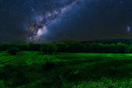 Milky Way over Green Field - Nature, Sky, Stars, Fields, Nights