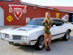 1970 Oldsmobile Cutlass 442 455 Engine and Girl