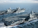 WORLD OF WARSHIPS  HMS Queen Elizabeth right with HMS Prince of Wales Aircraft-Carriers.