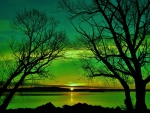 Lake Sunset of Green Nature
