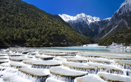 Jade Dragon Snow Mountain - clouds, snow, forest, jade dragon, mountain, nature, trees