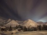 Dusk over a Mountain Village in Winter