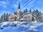 Beautiful Stone Church in Winter