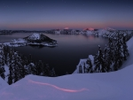 Crater Lake in Winter Twilight