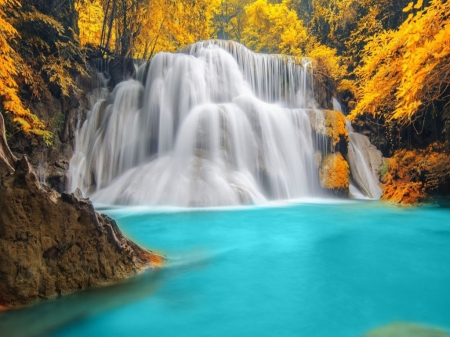 Waterfall of the blue lagoon - Nature, Tropical, Waterfall, Park, Forest