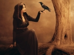 Beautiful witch with a raven