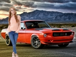 Nancy and her 1968 Orange Mustang
