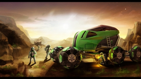 green buggy - ship, astronaut, buggy, planet