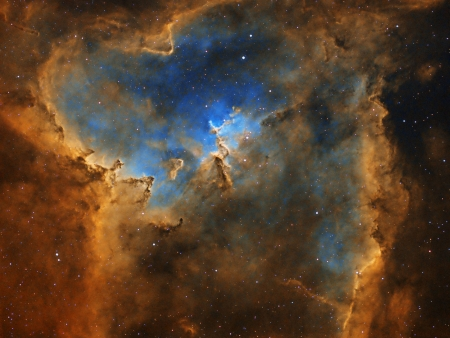 The Heart Nebula in Hydrogen, Oxygen, and Sulfur - cool, space, nebula, stars, galaxies, fun