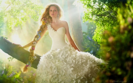 Spring Maiden - Blonde, model, gown, braided hair, Woman, softness, beauty, tree