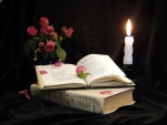 books, candles and roses
