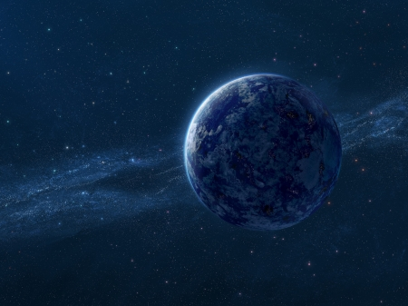 Blue planet - fantasy, space, blue, luminos, stars, cosmos, planet