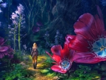Girl and Giant Flowers