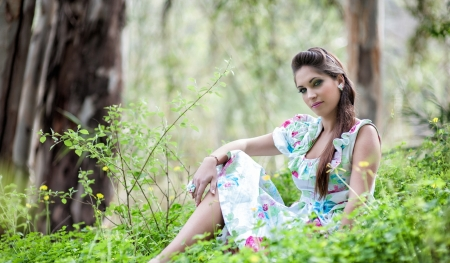 Unknown Model - flowers, oman, model, lady, beautiful, grass, forest, sexy, trees