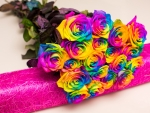 Bouquet of rainbow roses