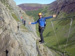 Walking on the via ferrata during a clear day