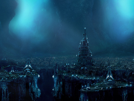 Atlantis - wds, atlantis, lost city, deep, ad, underwater, popescu, widescreen, sea, city, fantasy, ocean, alex popescu