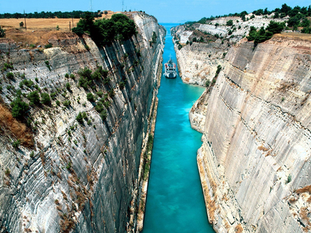 Corinth Canal, Greece - greece, ocean, canal, boat