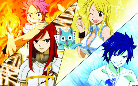 Fairy Tail - natsu, lucy, happy, fairy tail, erza, gray