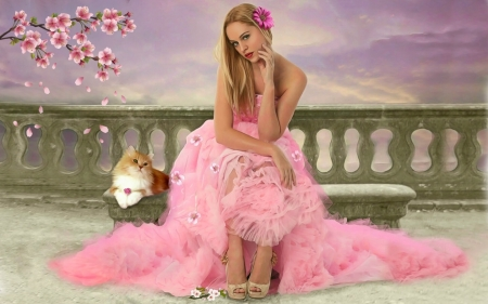 Beautiful Lady in Pink - Feminine, bench, Sitting, blonde, softness, beautiful, pink, lovely, pretty, digital, gown, lady