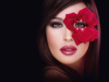 fashion makeup - cool, flower, people, photography, fashion, red, beauty