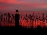 Lighthouse Against a Red Sky