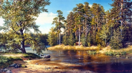 lovely creek in autumn - lovely, painting, autumn, rivers, creek, nature