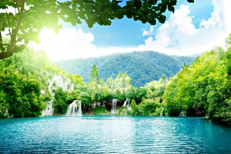 Forest Falls - lake, mountains, clouds, waterfall, forest, nature, trees