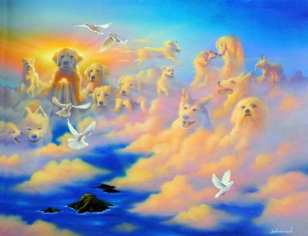 Companions above the Clouds - sky, birds, dogs, island, artwork, painting, ocean