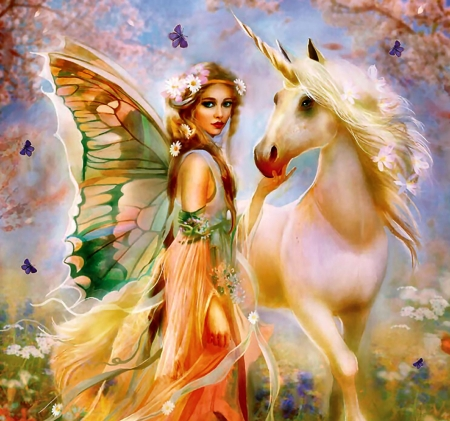Fairy Princess and Unicorn F1Cmp - fantasy, painting, abstract, illustration, art, Unicorn, wide screen, artwork, equine, beautiful
