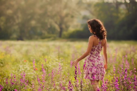 :-) - field, model, woman, pink, summer, dress, flower, girl