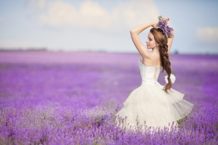 Bride - field, woman, pink, bride, summer, purple, flower, dress, girl, model, lavender, white