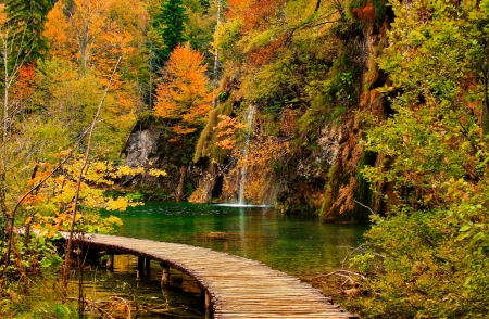 Autumn waterfall - colors, foliage, walk, waterfall, rocks, forest, trewes, autumn, beautiful, fall